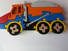 Puzzle truck tipper truck dumper truck machine handcrafted gift wood toy