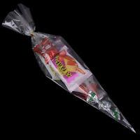 50pcs clear cone shape cellophane bags candy sugar popcorn flower gift bagsJ SJF