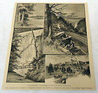 1889 magazine engraving LEHIGH VALLEY RAILROAD Glen Summit, Wyoming, Onoko Falls