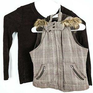 Charlotte Russe Women Sz Medium Hooded Fur Vest Western Plaid & Sweatshirt Brown