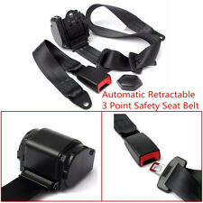 Universal 1X Auto Car 3 Point Safety Seat Lap Belt Set Kit Retractable Polyester
