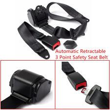 Universal 1X Auto Car 3 Point Safety Seat Lap Belt Set Kit Retractable Polyester
