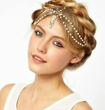 Gothic Vintage Retro Headband Head Piece Hair Accessory Metal Pearl Chain Tassel
