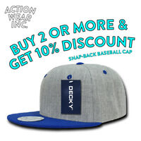 DECKY 1092 MENS PLAIN BASEBALL HAT TWO TONED FITTED CASUAL RETRO FLAT BILL HATS