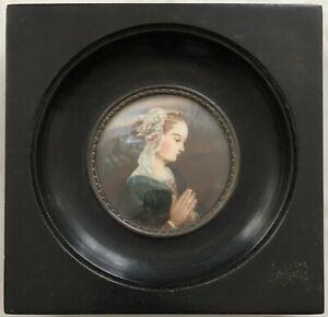 Miniature Portrait Femme Vierge en Adoration Peinture d'ap. Fra Filippo Lippi