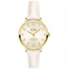 Brand New Coach Women Ultra Slim Gold 28mm Case Chalk Strap Watch 14502564 $225