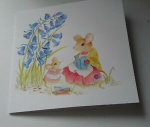 Hand painted greeting card. of a mouse READING A BEDTIME STORY