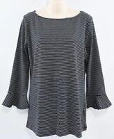 LAUREN RALPH LAUREN Women's 3/4 Bell Sleeve Striped Top, Black/White size XL