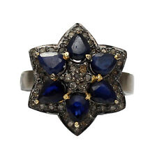 Blue Sapphire Flower Shape Ring R-1801 925 Sterling Silver Rose cut Diamond