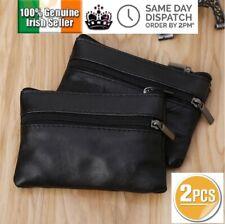 2Pcs Soft Coin Purses Key Holder Card Zipper Leather Wallet Change Unisex Ladies