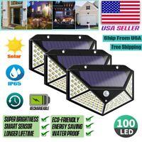 100 LED PIR Motion Sensor Wall Light Solar Power Waterproof Outdoor Garden Lamp