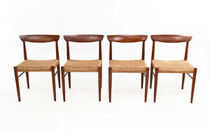 Set of Four Danish Papercord Mid Century Teak Dining Chairs