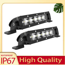 2x 7INCH LED Light Bar Single Row Spot Beam For 4WD  Truck ATV Chevrolet GMC