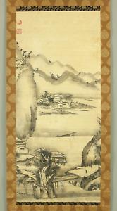 曾我蕭白 SOGA SHOHAKU Japanese Big hanging scroll / INK WASH LANDSCAPE PAINTING I775