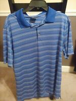 Nike GOLF Polo Shirt Men Size Large Dri-Fit Short Sleeve Stripe Blue White