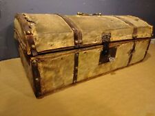 FUR COVERED Antique Small Travel Trunk Deer Skin Wood brass iron hobnails iron
