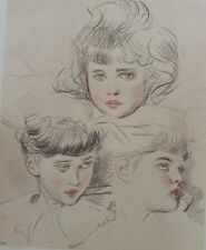 """Paul HELLEU : THREE MAIDS"" Litho originale THE STUDIO 1897"