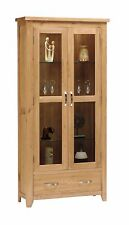 Oakland Oak 2 Door Glass Display Cabinet With Storage Drawer / Solid Wood