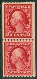 EDW1949SELL : USA 1914 Scott #442 Line pair. Mint NH. Light gum bends. Cat $130.