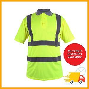 Hi Vis Viz Polo T-Shirt High Visibility  Safety Security Work Top Shirt Yellow