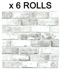 White Brick Effect Wallpaper Slate 3D Wall Weathered Stone Realistic 6 Roll Deal