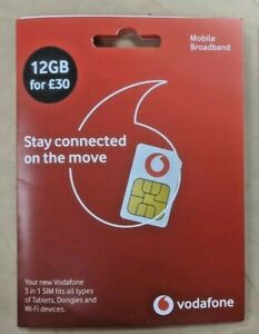 Vodafone Data Sim with 12GB valid for 12 months
