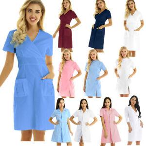 Women's Doctor Nurse Uniform Short Sleeve Lab Coat Hospital Healthcare Workwear