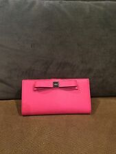 Kate Spade NWT Stacy Bow Montford Park Flamingo Leather Wallet $128