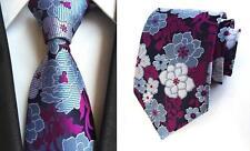 violeta y azul estampado hecho a mano 100% Corbata De Seda