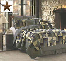 Woodland Blue Brown King Quilt & Metal Barn Star : Farm Country Cabin Primitive