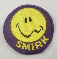"Vintage Smirk Smiley Face 1960/70's 3"" Hat Jacket Patch Biker Rat Rod Humor"
