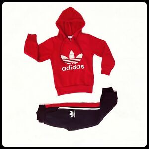 ADIDAS kids boys girls gift outfits suit Hoodie 2PCS red white fashion 6-7 years
