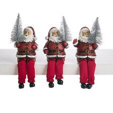 Set/3 Santa Shelf Sitters Figurine Glitter Retro Vintage Style Christmas Decor