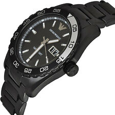 NEW EMPORIO ARMANI MEN'S SPORTIVO BLACK STAINLESS STEEL DIVE WATCH AR6049