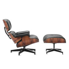 Eames Lounge Chair & Ottoman Reproduction Style Black Palisander Italian Leather