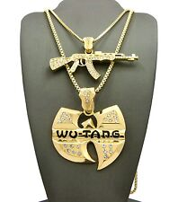 """NEW ICED OUT MACHINE GUN & WU-TANG PENDANT 24"""" & 30"""" BOX CHAIN NECKLACE RC2052G"""