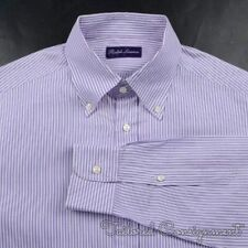 RALPH LAUREN PURPLE LABEL Purple White Striped Cotton OCBD Dress Shirt - MEDIUM