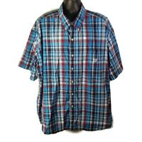 CHAPS Easy Care Mens Casual S/S Button Down Shirt Blue Red Plaid - 4XB Big