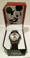 AUTHENTIC DISNEY STORE MICKEY MOUSE MEN'S WATCH BROWN LEATHER & BLK CANVAS BAND