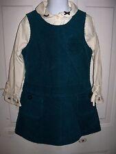 Gymboree Blue Corduroy Jumper Dress W/Long Sleeve Shirt W/Dogs on Cuff Size 5