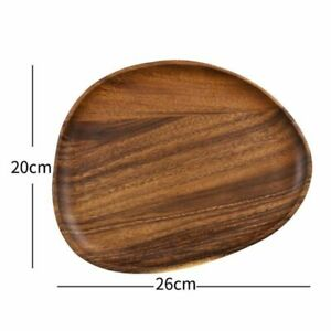 Irregular Oval Solid Acacia Wood Serving Tray Plate Home Breakfast Tableware Set
