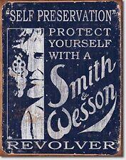 Smith & Wesson Revolver Gun  Pistol Metal Sign Tin New Vintage Style USA #1515