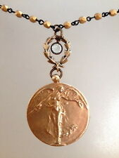 BRONZE VICTORY ANGEL WWI Paul Dubois Medal Crystal Necklace LAUREL Wreath WAR