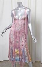 MISSONI Womens Pink Rayon Knit Fringe Midi Below-Knee Shift Slip Dress 40/4
