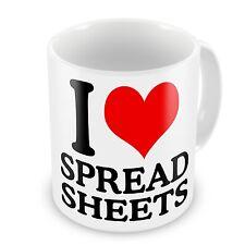 I Love Spreadsheets Work Office Novelty Gift Mug - I Heart Spread Sheets