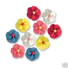 25 SMALL EDIBLE SUGAR FLOWERS CAKE DECORATIONS - WHITE BLUE PINK YELLOW RED