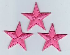 LOT 3 ECUSSON PATCH THERMOCOLLANT ETOILE ROSE PINK DIM. 4,5 X 4,5 CM