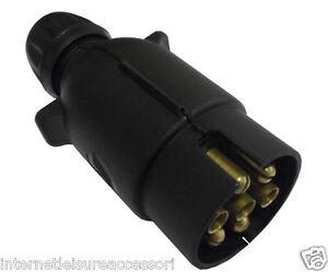 12N 7 Pin Plug - Black Plastic - Brass Pins - Towing Hook-Up - Caravan / Trailer