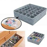 Gray Cloth Drawer Organiser 30 Compartments Lingerie Underwear Bra Storage Box