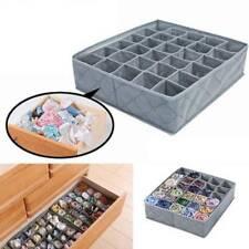 Gray Cloth Drawer Organiser 30 Compartments Lingerie Underwear Bra Storage Box